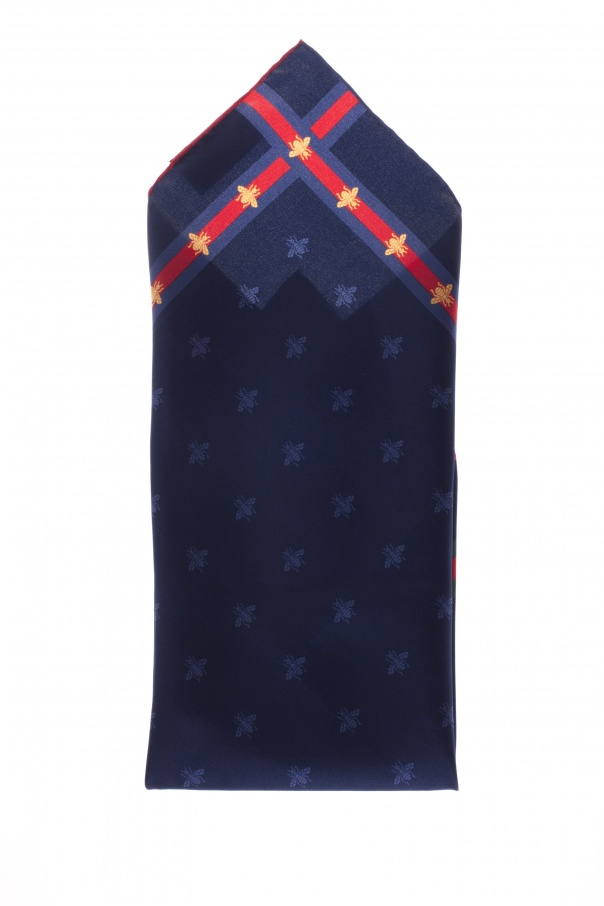 Gucci Silk Pocket Square with Decorative Pattern