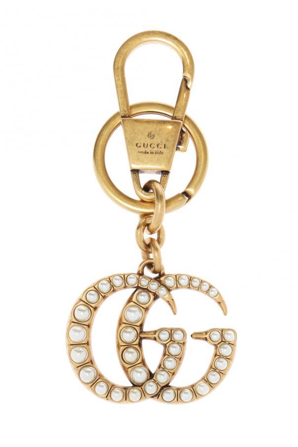Gucci Brelok z logo wysadzanym perłami