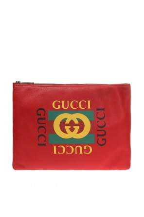 Clutch bag with a logo and 'web' stripes od Gucci