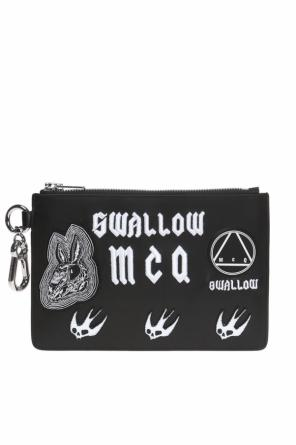 Clutch with swallow appliqués od McQ Alexander McQueen
