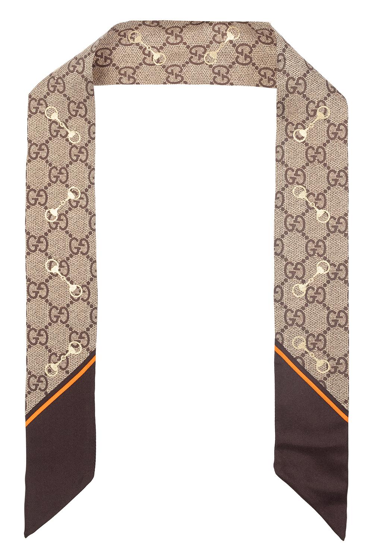 Gucci 图案真丝围巾