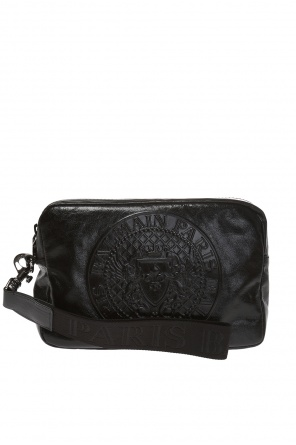 Leather clutch with logo od Balmain