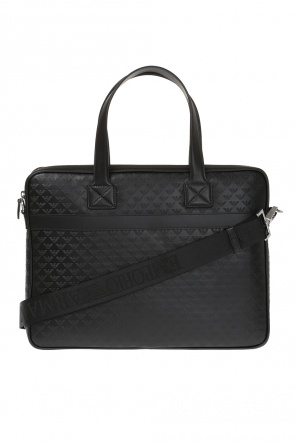 Logo-embossed laptop bag od Emporio Armani
