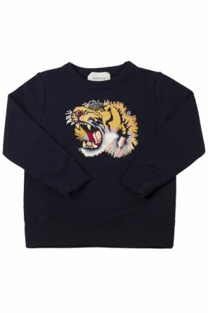 Tiger head-appliqued sweatshirt od Gucci Kids