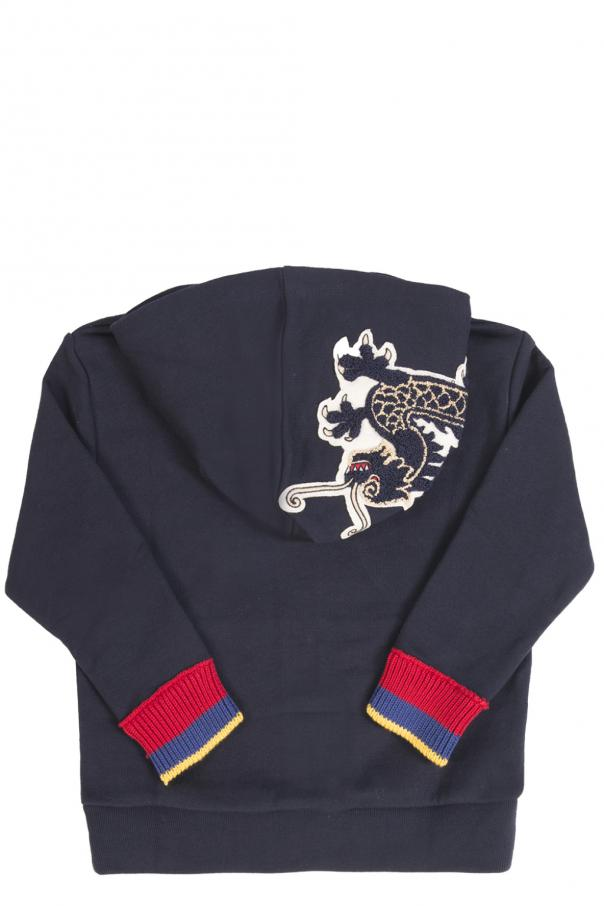 Patched hood sweatshirt od Gucci Kids