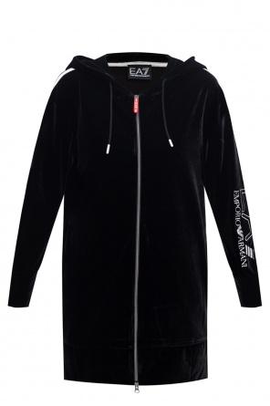 Velour hoodie od EA7 Emporio Armani
