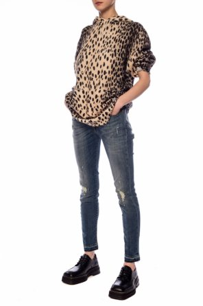 Hooded sweatshirt with leopard print od R13
