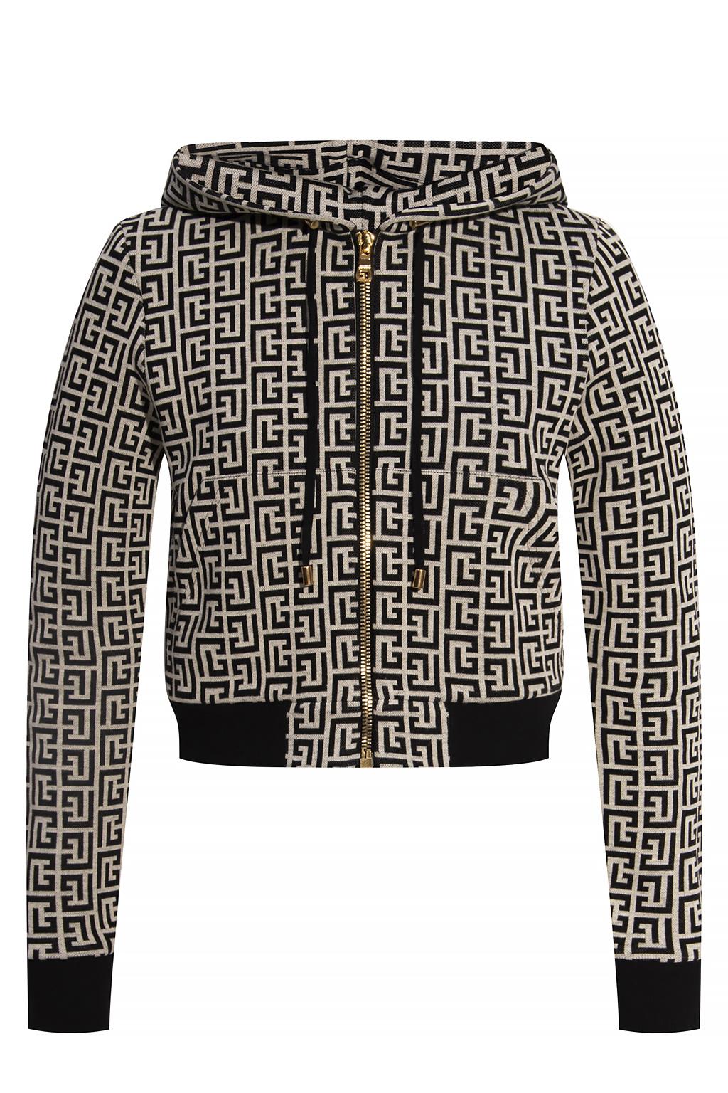 Balmain Cropped monogram hoodie