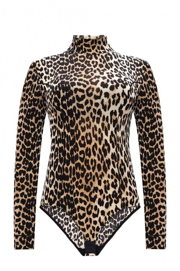 Ganni Patterned long-sleeved bodysuit