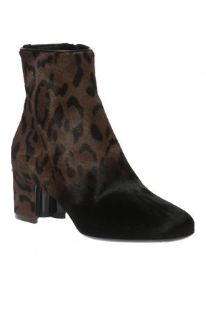 Fur heeled ankle boots od Salvatore Ferragamo