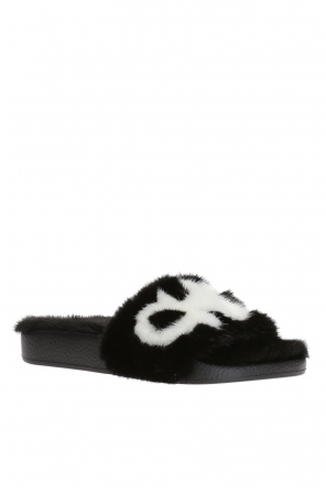 Fur-trimmed sliders od Salvatore Ferragamo