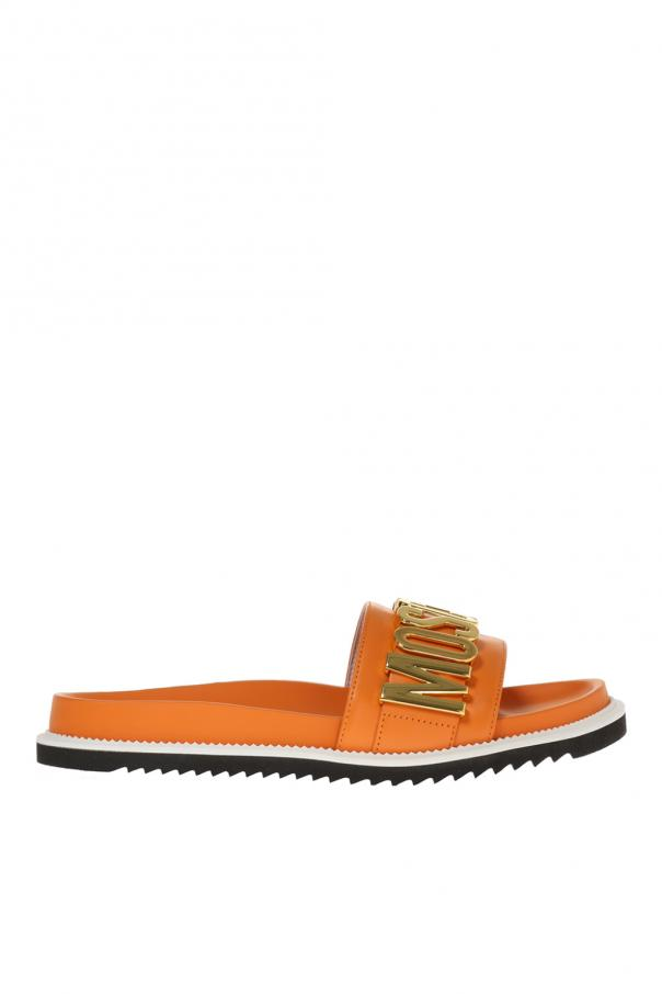 28f9a043779670 Leather sliders with logo Moschino - Vitkac shop online