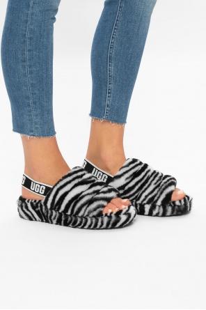 'w fluff yeah slide zebra' fur sandals od UGG