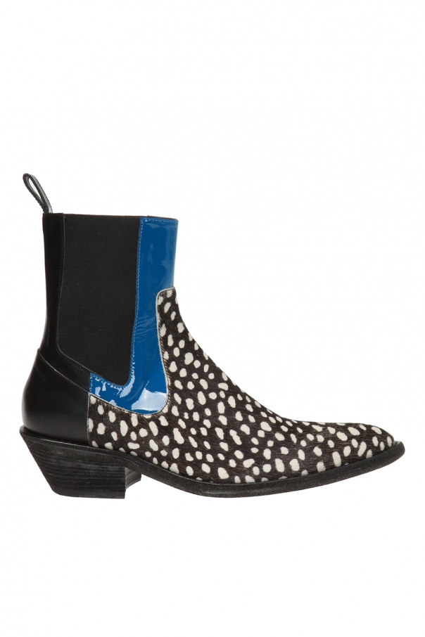Patterned Leather Ankle Boots by Haider Ackermann