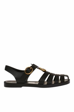 Metal logo rubber sandals od Gucci