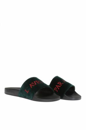 Velvet-trim slippers od Gucci