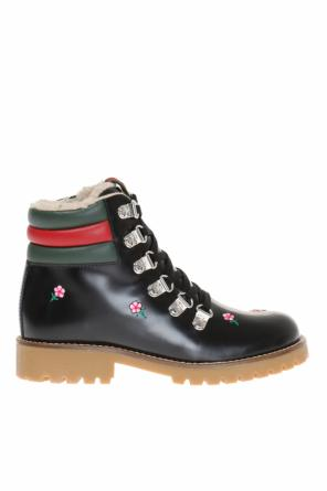 Embroidered lace-up boots od Gucci Kids