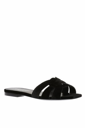 'nu pieds' velvet slide sandals od Saint Laurent Paris
