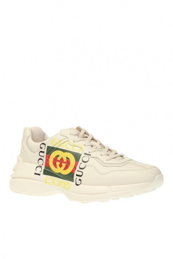 31ebe109e2f Gucci Unisex Rhyton Gucci Logo Leather Sneaker 500878 Cream ...