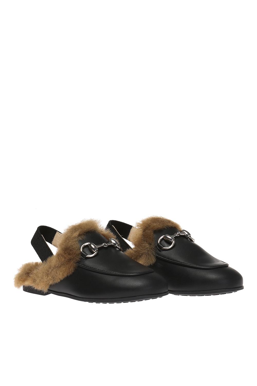 Gucci Kids Slides with fur finish