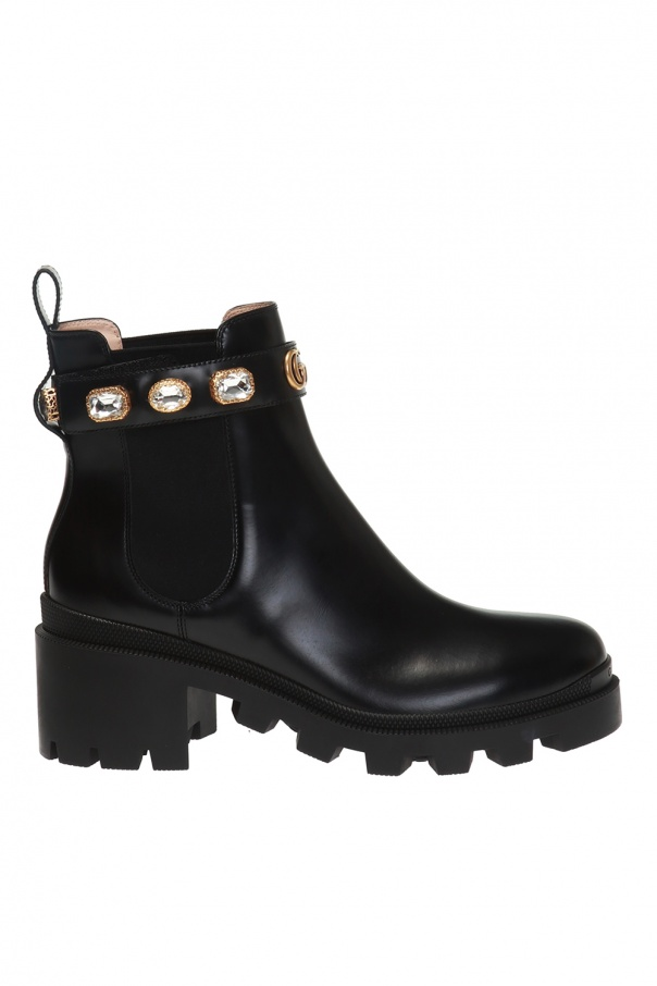 Gucci Crystal-embellished heeled ankle boots