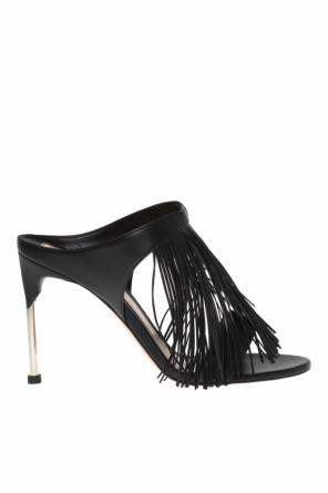 Heeled mules with fringes od Alexander McQueen