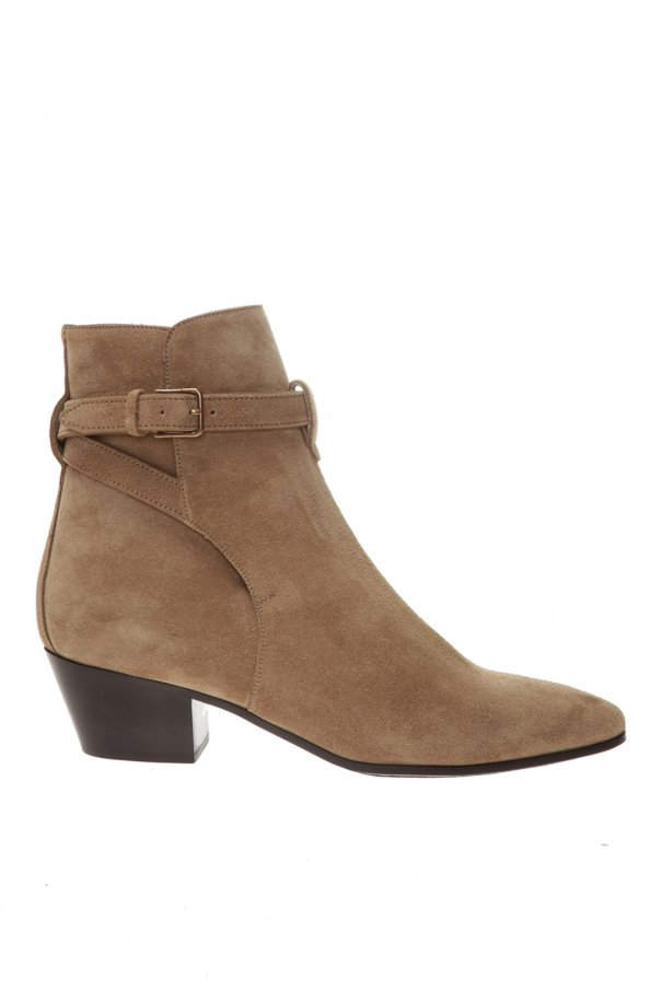Saint Laurent 'West Jodhpur' heeled suede ankle boots