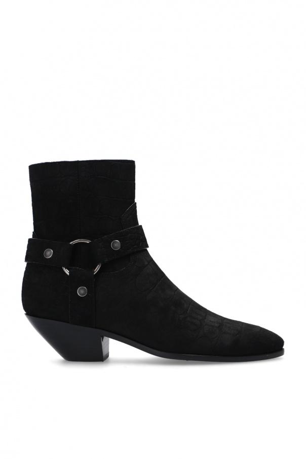 Saint Laurent 'West' suede heeled ankle boots