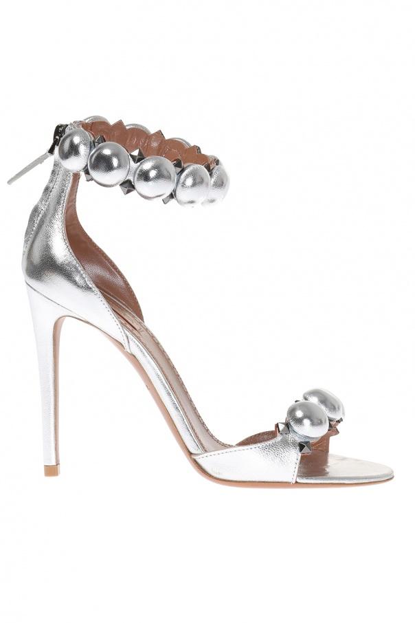 4bdc935fb446d Skórzane sandały na obcasie Alaia - sklep internetowy Vitkac