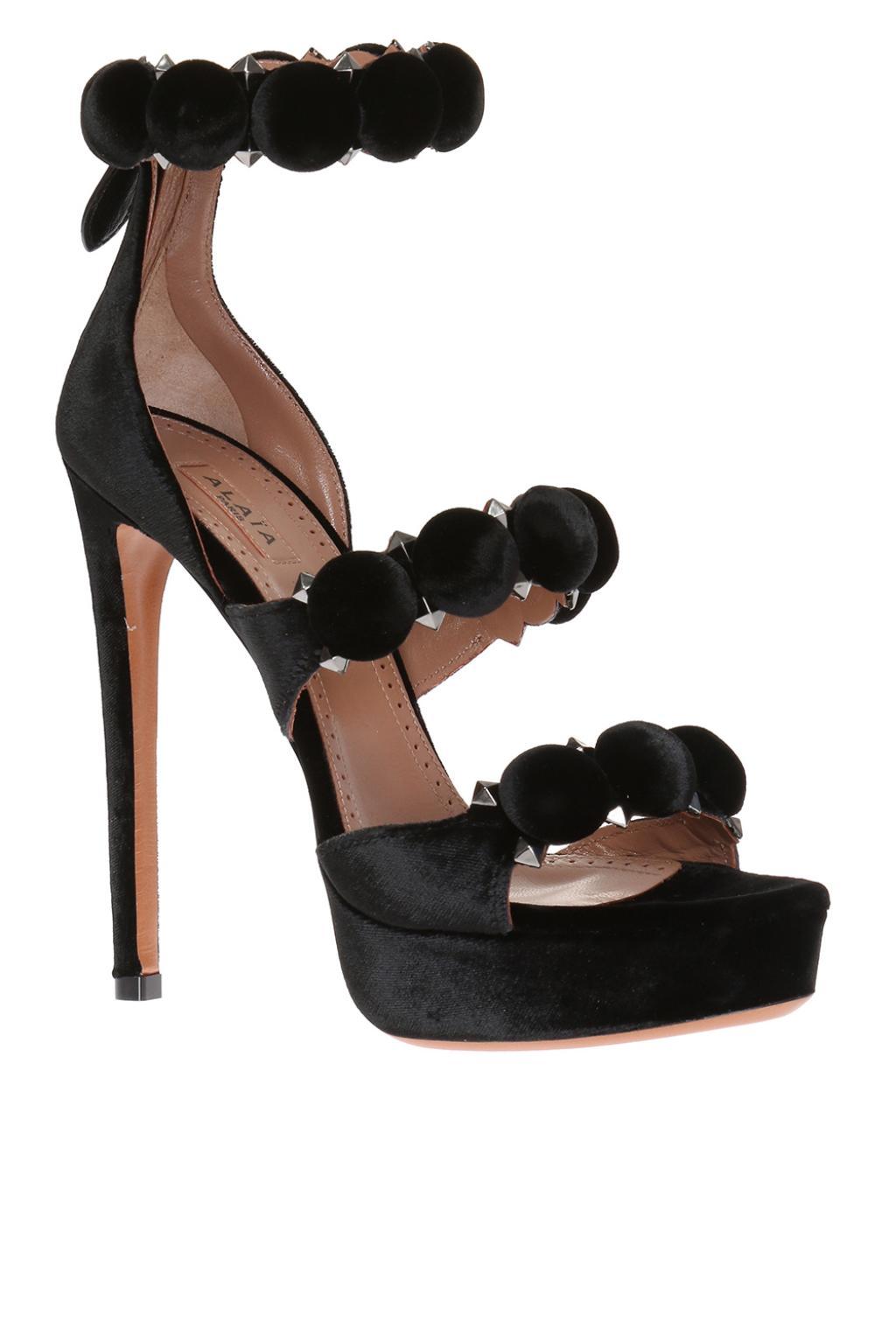 Alaia Velvet platform sandals