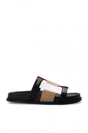 Leather slides with logo od Burberry