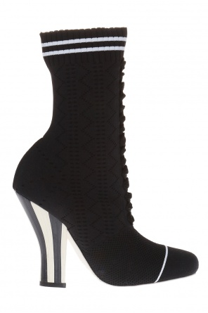 Openwork heeled ankle boots with sock od Fendi