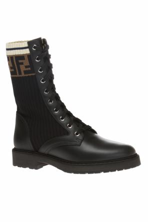 Combat boots with knit sock detail od Fendi