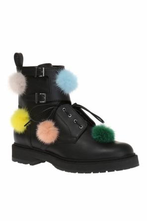 Leather boots with pompoms od Fendi