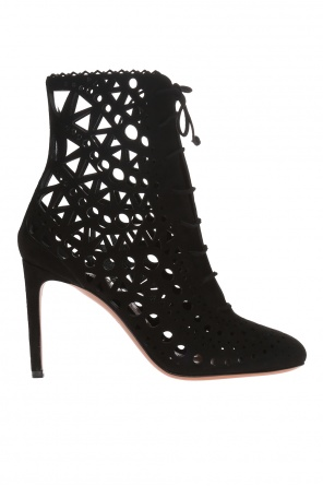 Heeled boots with an openwork pattern od Alaia