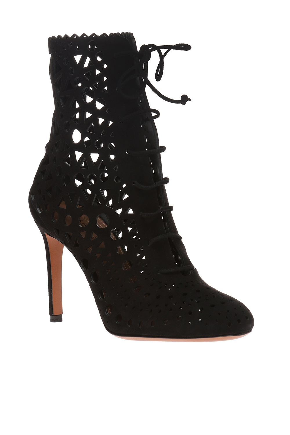 Alaia Heeled boots with an openwork pattern