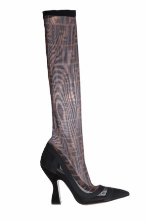Knee boots with sheer mesh sock od Fendi