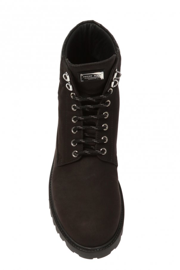 Leather boots with logo od Philipp Plein