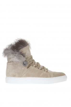 High-top sneakers with fur trimming od Moncler