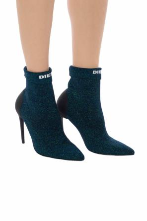 'd-slanty hasm' heeled boots with sock od Diesel