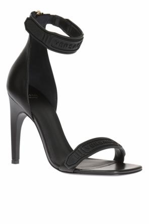Logo-embossed heeled sandals od Versace