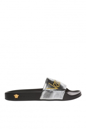 Logo-embroidered leather slides od Versace