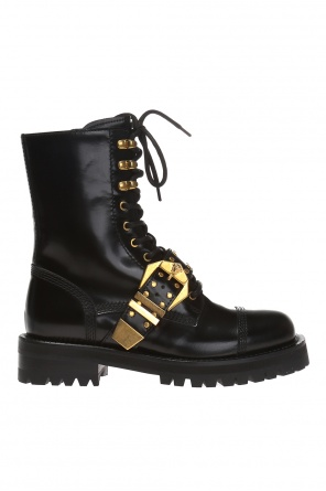 Leather 'biker' boots od Versace