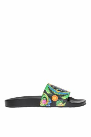 Patterned slides with logo od Versace