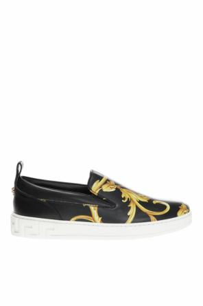 'baroque' printed slip-on sneakers od Versace