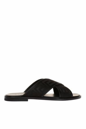Greek pattern-embroidered sliders od Versace