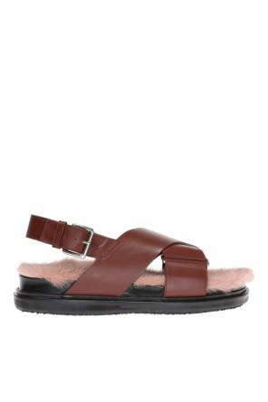 Mink fur-trimmed sandals od Marni