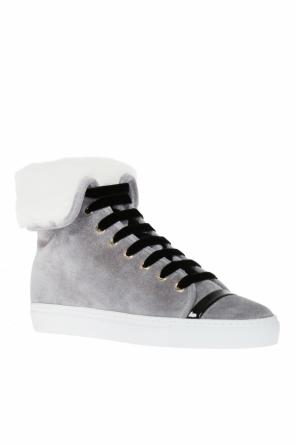 Fur-trimmed high-top sneakers od Lanvin
