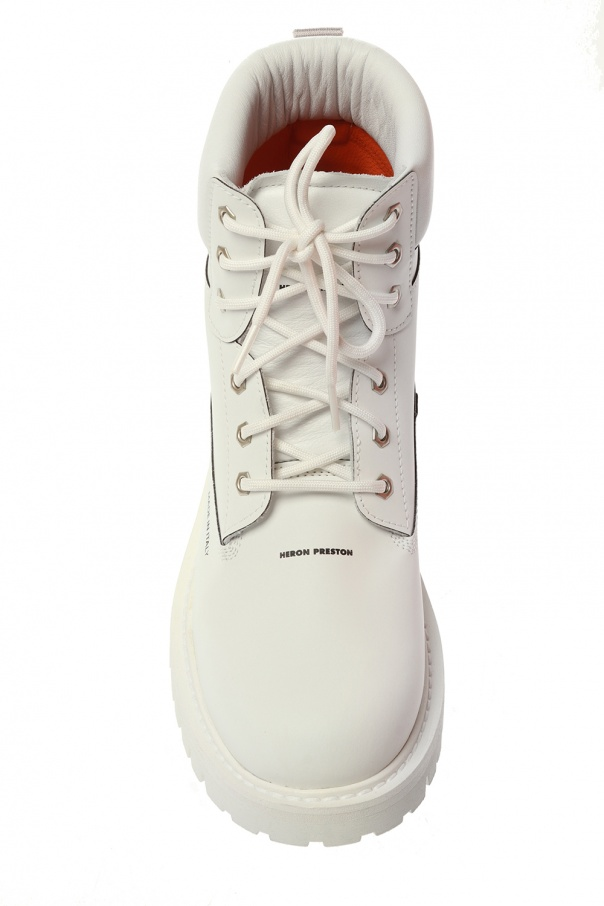 Branded leather boots od Heron Preston