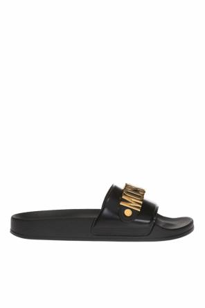 Sliders with metal logo od Moschino